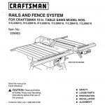 Table Saw Rail and Fence System Owner's Manual