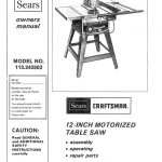 Table Saw Owner's Manual