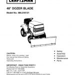 Lawn Tractor Dozer Blade Attachment Owner's Manual