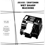 Wet Sharpening Machine Owner's Manual