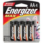Energizer Max Alkaline Battery, AA, 4-pack